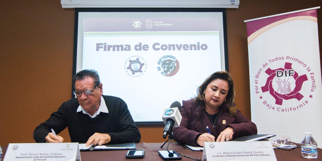 CONVENIO DE DIF BC CON EL INSTITUTO EDUCATIVO 16 DE SEPTIEMBRE